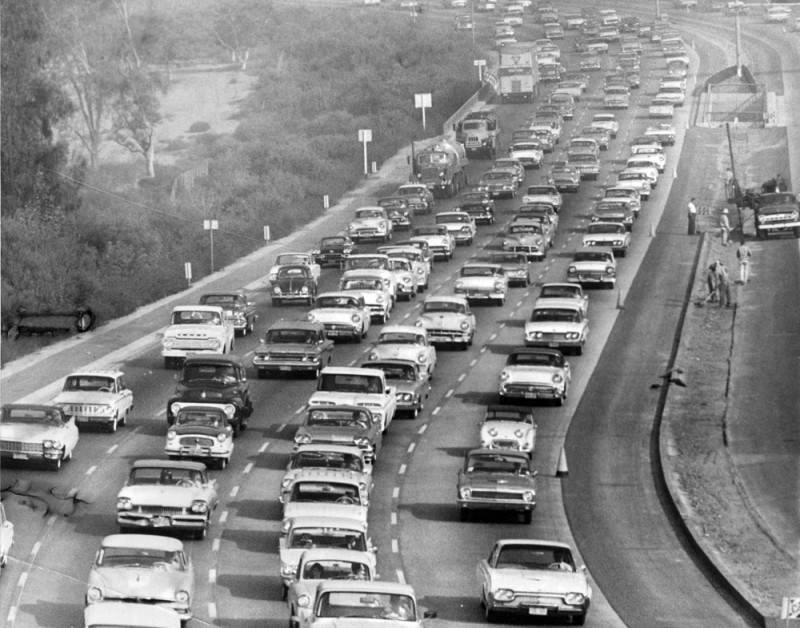 Stau auf dem Hollywood Freeway, Los Angeles 1961